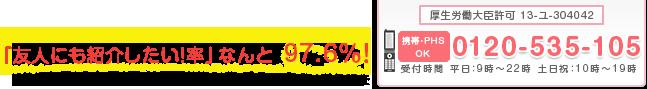 [厚生労働大臣許可 13-ユ-304042]0120-535-105(受付時間 平日:9時?23時 土日祝:11時?19時)「友人にも紹介したい」率なんと97.6% *2013年度4月当社集計